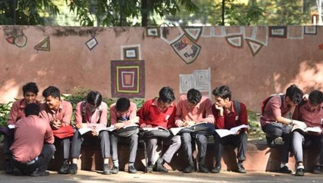 School students seen before their Class 12th Board Exam(HT File)