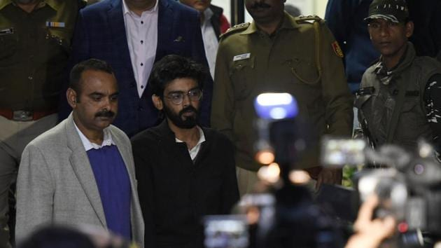 JNU student Sharjeel Imam was involved in organising protests at Shaheen Bagh but came into limelight after a video showed him making controversial comments before a gathering at Aligarh Muslim University(Biplov Bhuyan / Hindustan Times)
