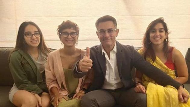 Aamir Khan and his family members are all ready to enjoy a movie together.