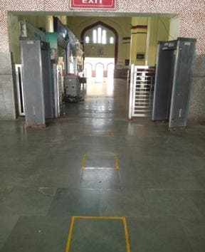 Yellow coloured blocks painted on the floor of the platform, ahead of the arrival of migrant labours from Shramik Special Train, in order to maintain social distancing.(HT Photo)