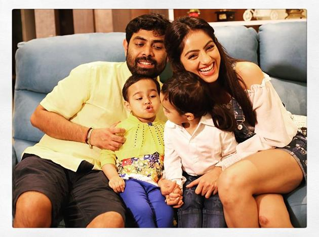 Deepika Singh Goyal and Rohit Raj Goyal in an old, fun picture with their son.