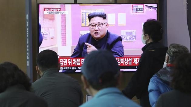 People watch a TV showing a file image of North Korean leader Kim Jong Un during a news program at the Seoul Railway Station in Seoul, South Korea.(AP)