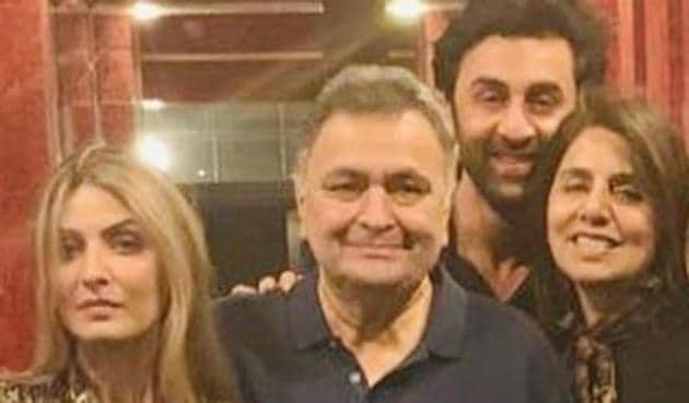 Riddhima Kapoor with her parents Rishi Kapoor and Neetu Kapoor, and brother Ranbir Kapoor.