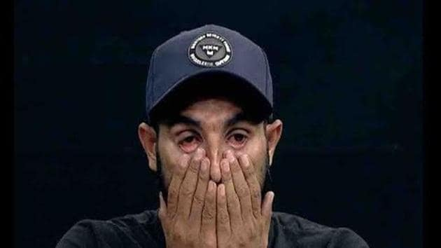 File Photo of Mohammed Shami getting emotional during a TV interview(Twitter)
