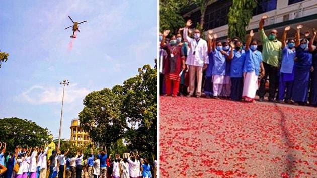 Indian Air Force helicopter showers flower petals over Trivandrum Medical College Hospital in Kerala.(Twitter/ANI)