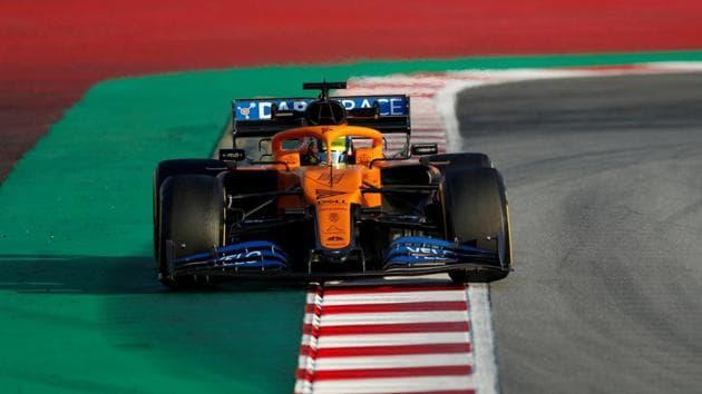 McLaren's Lando Norris during testing.(REUTERS)