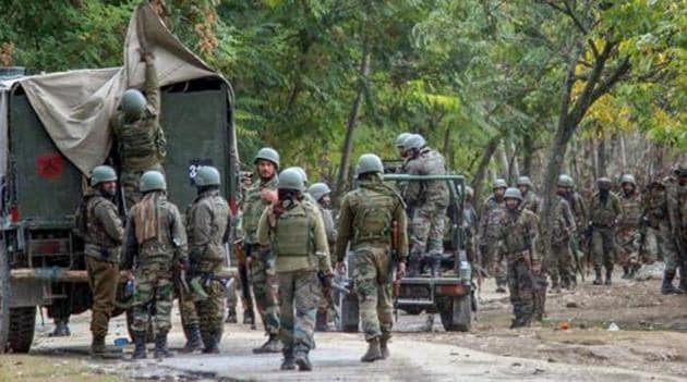The Handwara encounter began in the afternoon after Army and police launched a joint operation in the forests of Rajwar following a tip-off about the presence of militants in the area.(PTI)