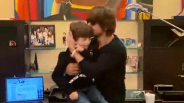Shah Rukh Khan and AbRam in a screengrab from their performance.