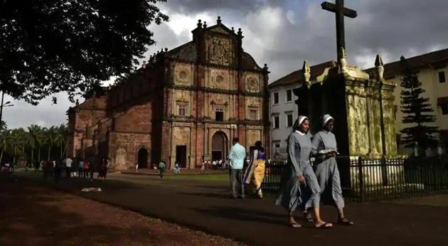 The basilica holds the mortal remains of St. Francis Xavier. The church is located in Old Goa.(Ajay Aggarwal/HT PHOTO)