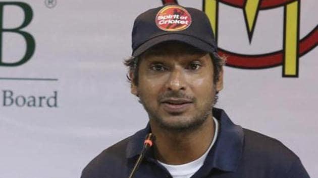 Former Sri Lankan captain Kumar Sangakkara addresses a news conference in Lahore.(AP)