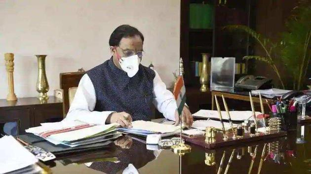 Union Human Resource Development Minister Ramesh Pokhriyal 'Nishank'. (Arvind Yadav/HT PHOTO)