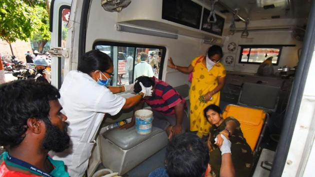 People affected by gas leak being taken to a hospital for treatment, near Visakhapatnam in Andhra Pradesh on Thursday.(PTI Photo)