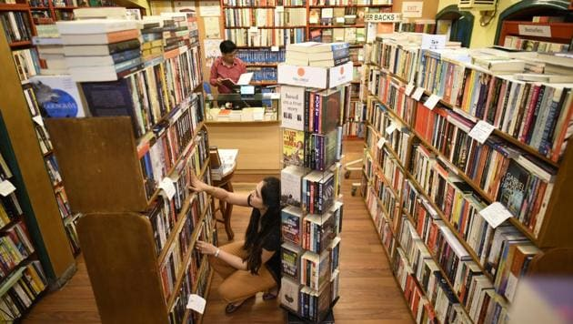 Full Circle Book Store in Khan Market, New Delhi is among the bookshops that have started home delivery of books.(Photo: Burhaan Kinu/HT (Photo for representational purpose only))