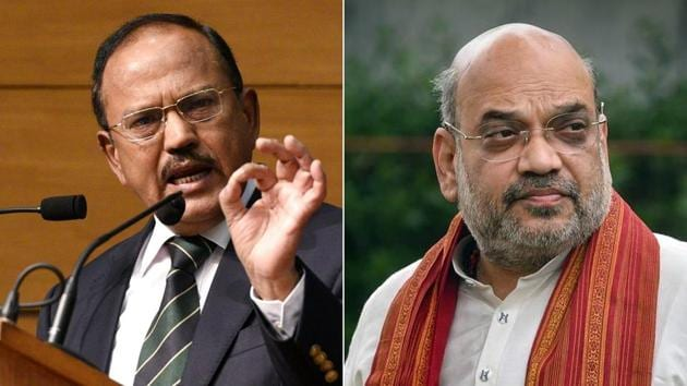 NSA Ajit Doval also led a select group of top officers to meet Union Home Minister Amit Shah who was briefed about the deliberations and their findings.(HT Photo)