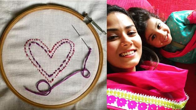Mira Rajput and daughter Misha did some embroidery at home.