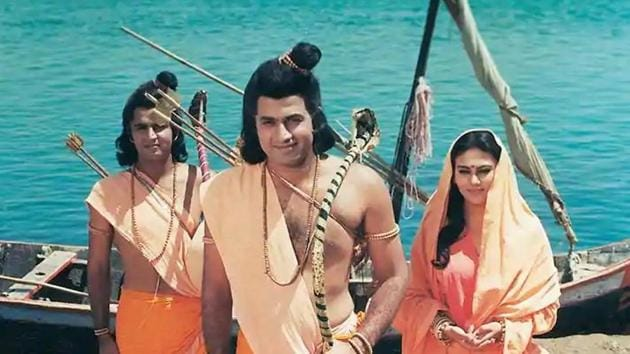 Sunil Lahri, Arun Govil and Dipika Chikhlia in a still from Ramayan.