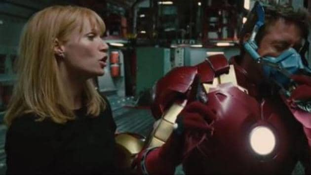Robert Downey Jr and Gwyneth Paltrow in a screengrab from the deleted scene.