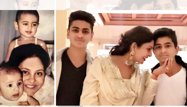 Shefali Shah with her two boys, Aryaman and Maurya when they were 18 months and six months old respectively (left), and when they were 15 and 14 years old