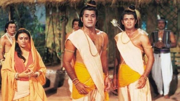 Dipika Chikhlia, Arun Govil and Sunil Lahri in a still from Ramayan.