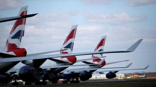 British Airways planes are seen parked at Bournemouth Airport, as the spread of the coronavirus disease (COVID-19) continues, Bournemouth, Britain.(REUTERS)