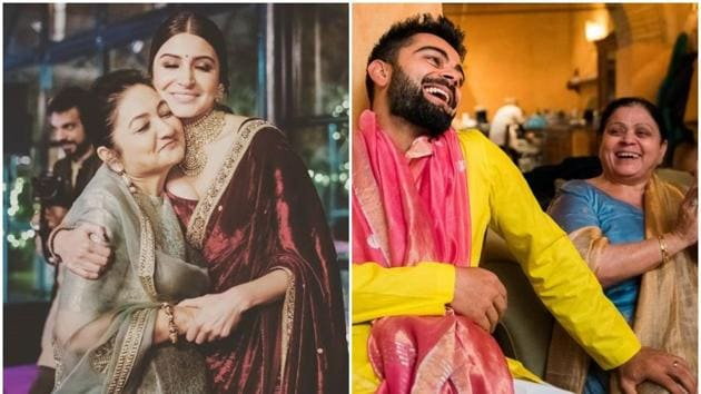 Seen here, Anushka Sharma and Virat Kohli with their respective mothers.