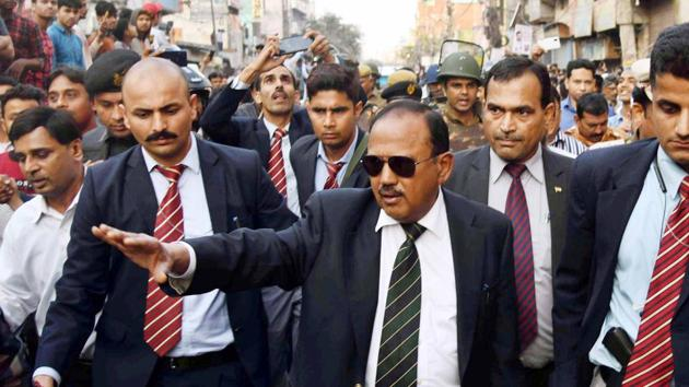National Security Adviser Ajit Doval-led review meeting was attended by top army commanders and heads of central paramilitary forces deployed in Jammu and Kashmir(HT Photo)