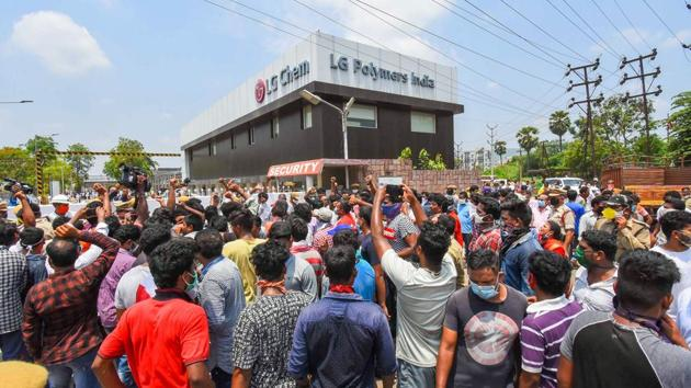 Locals stage a protest against LG Polymers industry after the chemical gas leakage incident, demanding immediate closure of the plant, at RR Venkatapuram village in Visakhapatnam on Saturday.(PTI Photo)