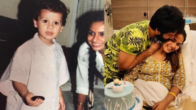 Shahid Kapoor with mom Neelima Azim and wife Mira Rajput.