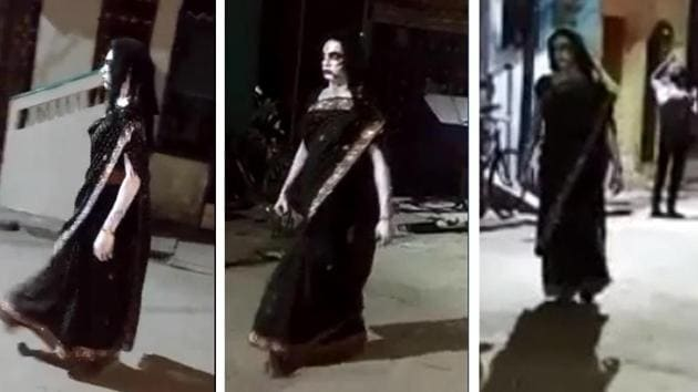 Villagers scream and retreat as soon as they see this woman walking on the street.