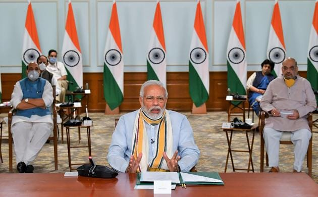 Prime Minister Narendra Modi interacts with the chief ministers of various states via video conferencing to discuss Covid-19 situation in New Delhi, Monday, May 11, 2020.(PTI photo)