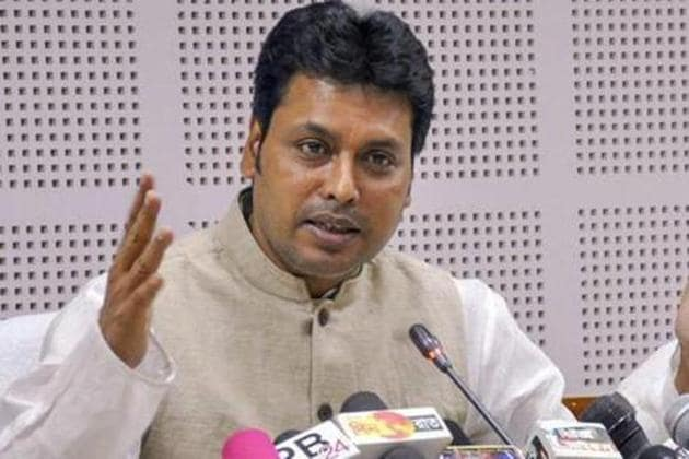 Tripura Chief Minister Biplab Deb is facing opposition from dissident BJP MLAs.(PTI FILE PHOTO)