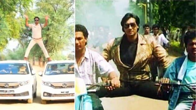 MP cop does Ajay Devgn's Phool Aur Kaante stunt.