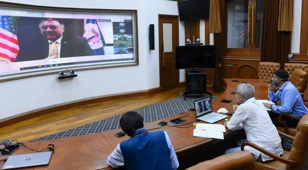 Foreign Minister S Jaishankar described the video conference as a 'broad-based virtual meeting' on responding to the coronavirus challenge(Twitter/@DrSJaishankar)
