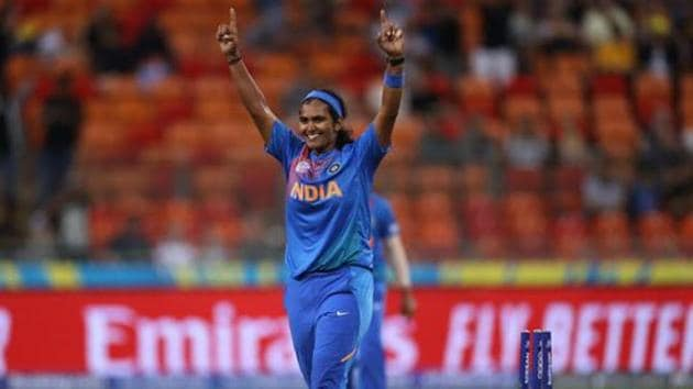 Shikha Pandey celebrates victory during the ICC Women's T20 Cricket World Cup.(Getty Images)