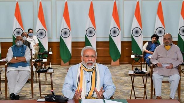 Prime Minister Narendra Modi interacts with the Chief Ministers of various States via video conferencing, to discuss COVID-19 situation, in New Delhi, Monday, May 11, 2020.(PTI)