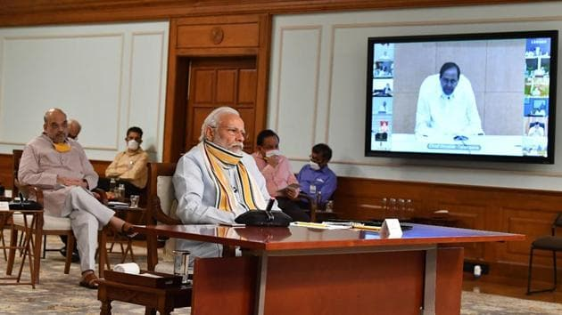 Prime Minister Narendra Modi interacts with the chief ministers of various states via video conferencing, to discuss Covid-19 situation, in New Delhi on Monday.(Twitter/@PIB_India)