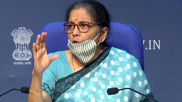 Union Finance Minister Nirmala Sitharaman was addressing a press conference to give the details of the Rs 20 lakh crore economic stimulus package announced by Prime Minister Narendra Modi.(ANI photo)