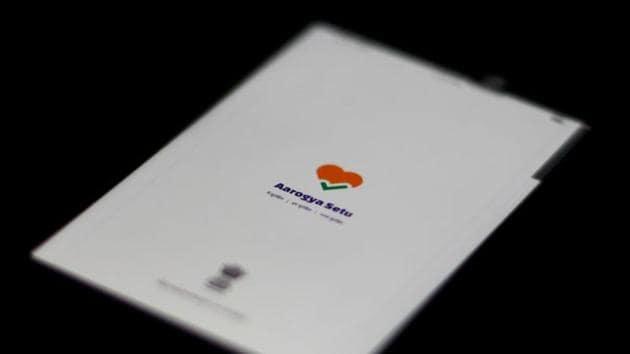 The Aarogya Setu app logo is seen on a mobile phone.(REUTERS)