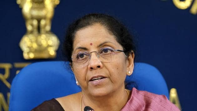 Finance Minister Nirmala Sitharaman speaks during a news conference in New Delhi, on March 13.(Bloomberg Photo)
