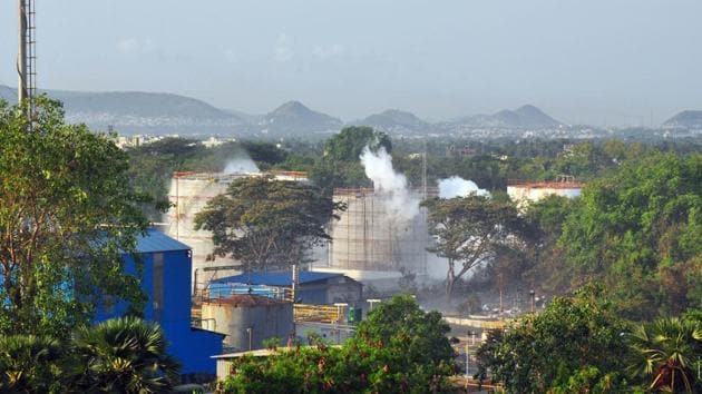 Smokes rise from an LG Polymers plant following a gas leak incident in Visakhapatnam.(ANI)