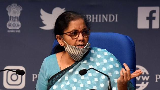 Union Minister of Finance and Corporate Affairs Nirmala Sitharaman during a press conference detailing the centre's announcement of an economic stimulus package during lockdown, at the National Media Centre in New Delhi.(Sonu Mehta/HT PHOTO)