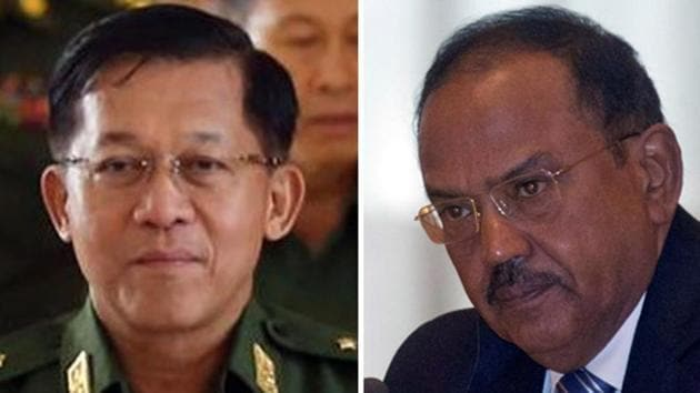 NSA Ajit Doval had been working with Myanmar military's commander-in-chief Min Aung Hlaing to get the Indian insurgents deported(Agencies)
