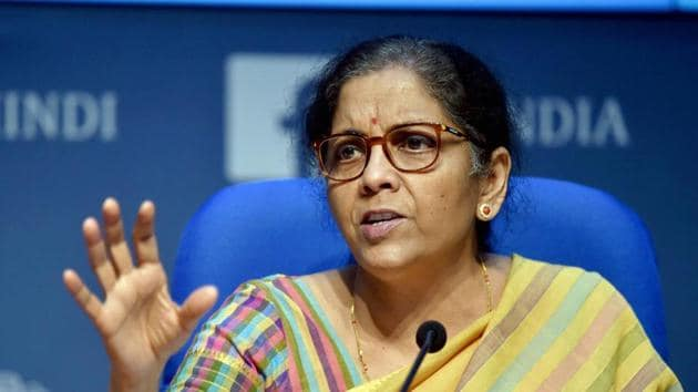 Finance Minister Nirmala Sitharaman addresses a press conference at National Media Centre in New Delhi on Thursday.(PTI Photo)
