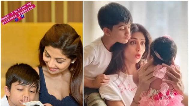 Shilpa Shetty shared a new photo with daughter Samisha and son Viaan Raj Kundra.