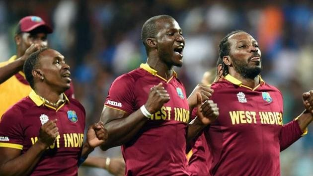 West Indies celebrates the victory during ICC Twenty20 2016 Cricket World Cup Semi-final match against India.(Hindustan Times)