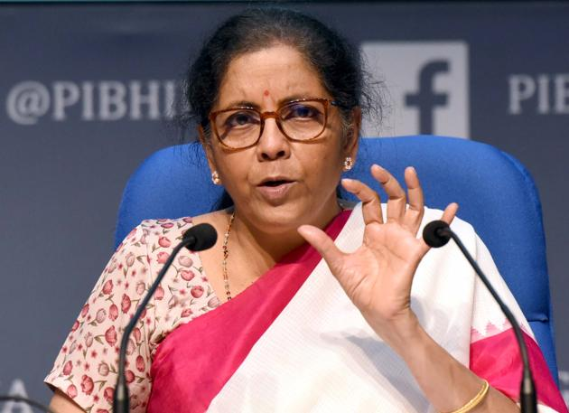 Union Minister of Finance and Corporate Affairs Nirmala Sitharaman during the third briefing detailing the Centre's economic stimulus package at National Media centre in New Delhi.(Sonu Mehta/HT PHOTO)