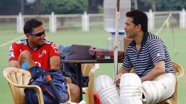 Sachin Tendulkar with Ajit Agarkar.(Instagram)