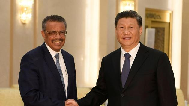 Tedros Adhanom, WHO director general has been accused of pushing the Chinese agenda of playing down the coronavirus outbreak in the initial stages. Seen in this photo, with President Xi jinping(REUTERS)
