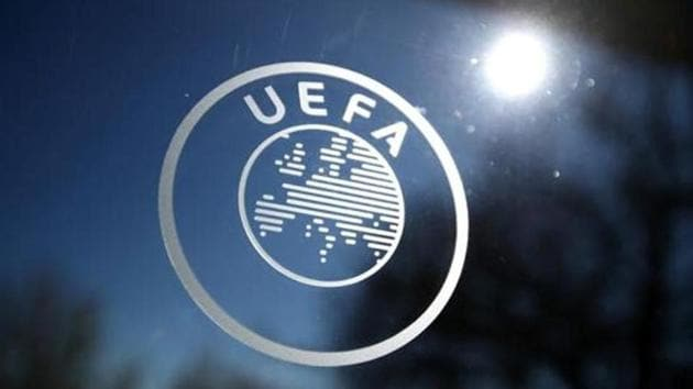 General view of the UEFA logo at UEFA Headquarters before the draw.(REUTERS)