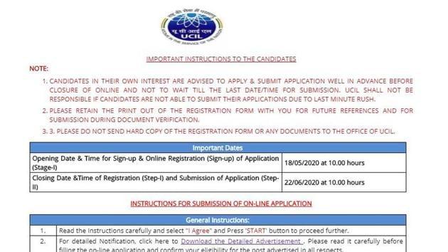 UCIL Recruitment 2020. (Screengrab)